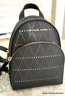 064ab2056fde Michael Kors Abbey Extra Small Backpack Mini Crossbody Saffiano Leather  Black