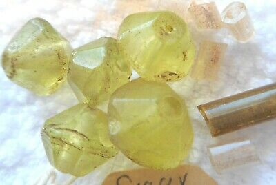 Ancient rare Roman Glass beads yellow faceted 6 plus Marti Gras old beads also