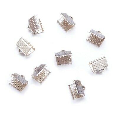 50 Fermoirs Griffes Attaches Ruban Embouts 8mm x 8mm 8x8mm Métal Argenté
