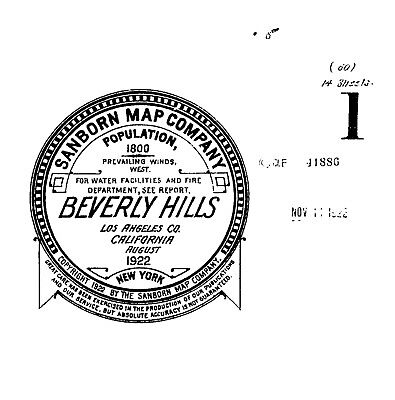 Beverly Hills, California~Sanborn Map© sheets~ 14 maps made in 1922