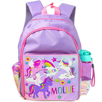 Personalised Girls Backpack UNICORN Holographic Shiny Silver School Bag KS152