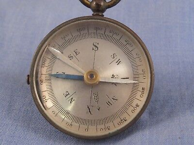Victorian Antique Brass Pocket Field Travelling French Locking Compass
