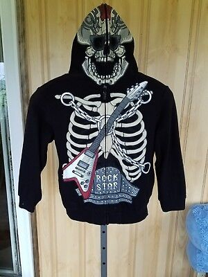FSD Youth Boys M Hooded Sweatshirt Mask Rock Star Skeleton Guitar