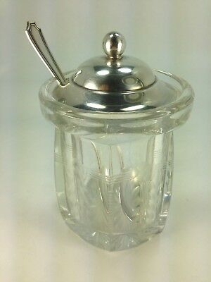 Vintage Etched Glass Jam/Jelly Jar with Sterling Cover & Spoon #366 by Gorham