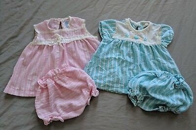 2 Vintage 6 Month 60s Carter's Summer Dress Top w/ Diaper Cover Pink & Blue Twin