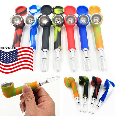 US Hand Tobacco Smoking Pipe with Cap Bowl Herb Cigarette Filter Holder Silicone