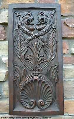 """Decor French design wood carving style wall plaque sculpture 24"""" gryphon"""