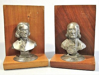 American Methodist Bicentennial Bookends Francis Asbury, John Wesley Metal Busts
