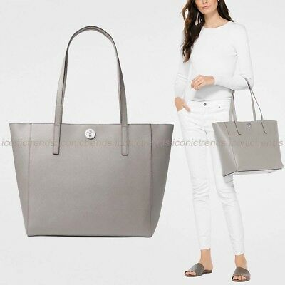 3426b56d8dee Nwt 🌸 Michael Kors Rivington Large Saffiano Leather Tote Pearl Grey Silver