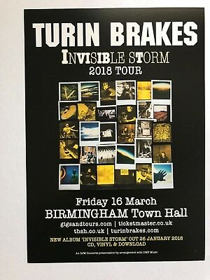 2x TURIN BRAKES promo FLYERS live Birmingham Town Hall 2018 INVISIBLE STORM