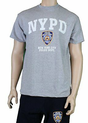 NYPD Short Sleeve White Print Logo T-Shirt Gray