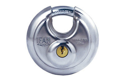 Ifam High Security Protected Shackle Indoor/outdoor Circular Padlock. Ss Body.