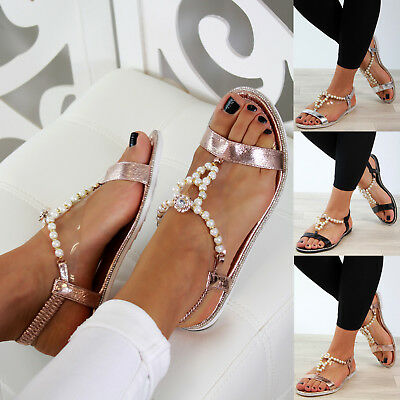 dfc798b54d57 New Womens Flat Sandals Embellished Slingback Comfy Holiday Shoes Sizes 3-8