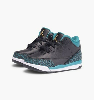 Nike Air Jordan 3 Retro GT PS SZ 1.5Y Black Metallic Gold Rio Teal 654964-018