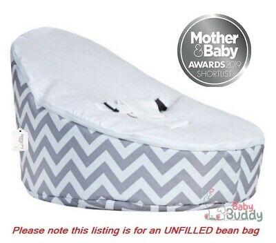 Baby Bean Bag Chair for Kids UNFILLED With 2 Covers & Harness White Grey Zig-Zag