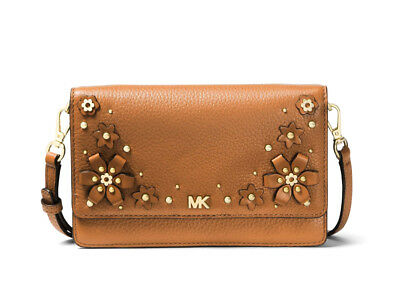 c43d277a615c Michael Kors Floral Embellished Leather Convertible Crossbody Acorn Brown  NWT