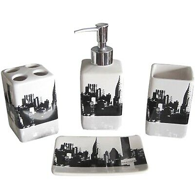 Ceramic Bath Accessory Set 4 Pieces Bathroom Accessories Black White Nyc Style 17 93 Picclick