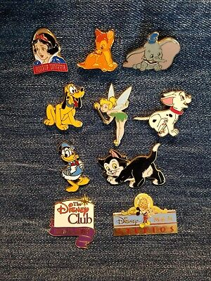 Assorted Disney Trading Pin Lot Of 10 Dumbo,Pluto,Tinkerbell,Dalmatian Puppy etc