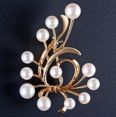 Vintage 1950's 14k Yellow Gold Cultured Freshwater Pearl Pin / Brooch 9.5g