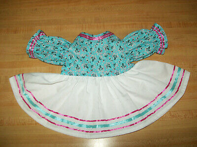 """AQUA BLUE DAISY DAISIES DRESS ONLY W//RIBBON SASH for 15-16/"""" CPK Cabbage Patch"""