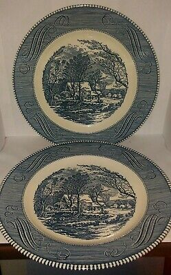 2 Currier and Ives Royal China Old Grist Mill 10 Dinner Plates Jeannette