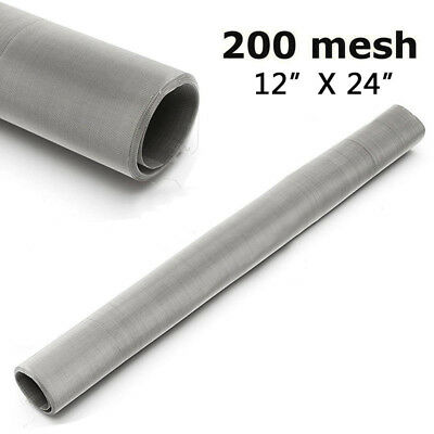 """200 Mesh 75 Micron Stainless Steel Woven Wire Screen Filter Sheet 12x24"""" Kit #KD"""