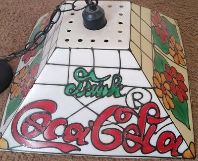 Vintage Coca Cola Hanging Light Pool Table Card