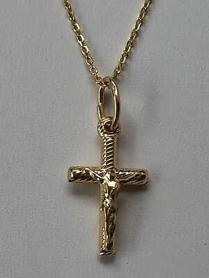 "Ladies Cross Pendant Necklace 14k Yellow Gold Over Solid 925 Silver W. 18"" Chain"