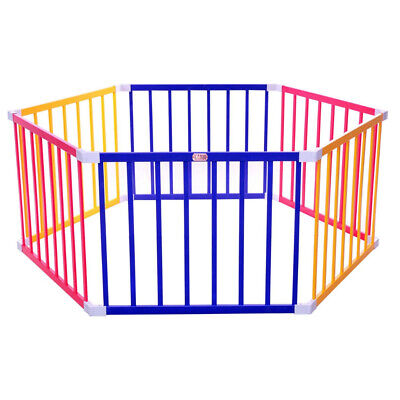 TikkTokk Baby Kids Toddler Wooden Safety Playpen 6 Panel Hex - Coloured