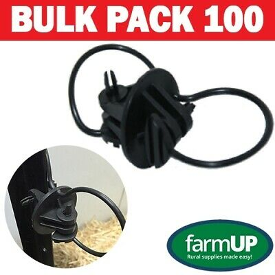 100x STEEL POST PINLOCK INSULATOR Electric Fence Energiser Poly Tape Wire Star P