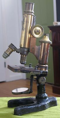 Complete Antique 1905 E. Leitz Brass Microscope with Two Objectives Germany