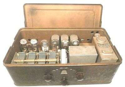 "vIntage SILVERTONE NEUTRODYNE BREADBOX MODEL ""H""  RADIO:  Untested w/ 7 tubes"