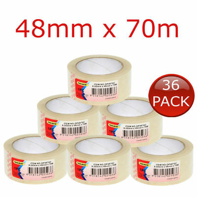 36 x STICKY PACKING PACKAGING TAPE CLEAR ROLLS SHIPPING BOX SEALING CARTON 48m