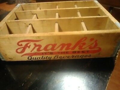"""Vintage FRANK'S """"Its the Best"""" Quality Beverages PHILA PA Wood Soda Crate"""