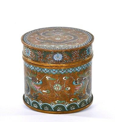 1900's Chinese Gilt Cloisonne Enamel Triple Dragon Box Tea Caddy Humidor 658G