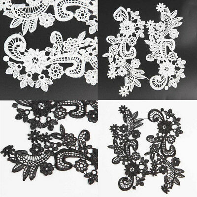 1Pair Hot Fabric Venise Floral Flower Motif Lace Trimmings Applique Sewing Craft