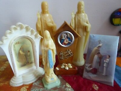 Vintage RELIGIOUS 6 LOT PLASTIC SHRINE Statue - Mary- Jesus- Holy picture Italy