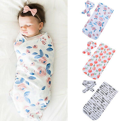 US Newborn Baby Girl Floral Swaddle Blanket Sleeping Wrap With Headband Set MARY