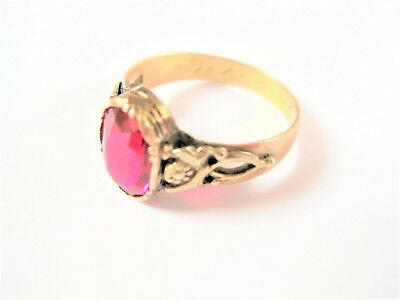 Antiker Ring Gold 585 mit rotem Spinell, 3,48 g
