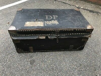 Edwardian Wooden Brass And Leather Chest.