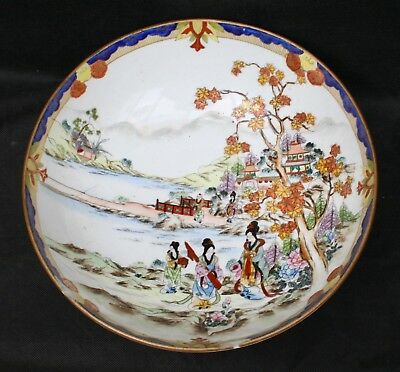 Antique Japanese Noritaki Hand Painted Pedestal Bowl - Signed