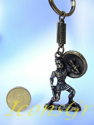 Ancient Greek Zamac Keyring Miniature Statue of Spartan King Leonidas (Go... New