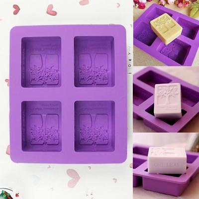 Tree Silicone Homemade Candle Maker Soap Mold Fourhole Cake Mold A