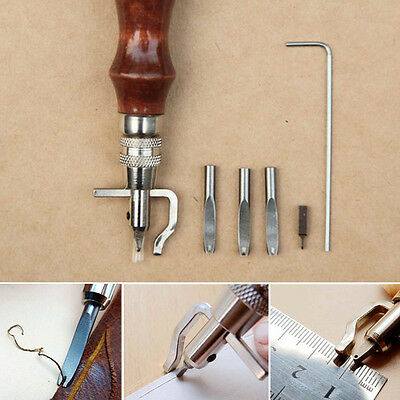 Practical 5in1 Pro Stitching Groover Crease DIY Leather Craft Hand Tool AU Stock