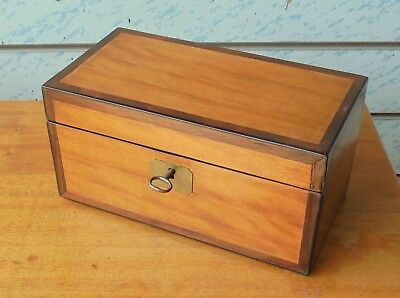 Gorgeous Antique Small Satinwood & Rosewood Tea Caddy With Lock & Key