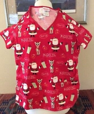 3dd0f6ffaf4 RUDOLPH THE RED-NOSED Reindeer Red Scrub Top Size X-Small Scrubs ...