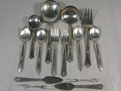 Silver Plate flatware Mixed lot of 14 Pcs Vintage