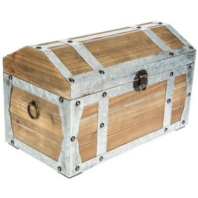 Wood Domed Trunk W/Galvanized metal accents. Farmhouse/home/cottage decor New