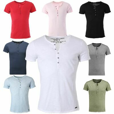 new styles cc9ea fe9e7 KEY LARGO HERREN Henley T-Shirt Lemonade mit Knopfleiste vintage Look slim  fit
