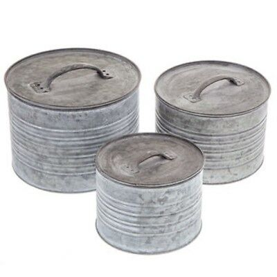 Round Galvanized Metal Box Set Kitchen Canister With Metal Lids (Set of 3) New!